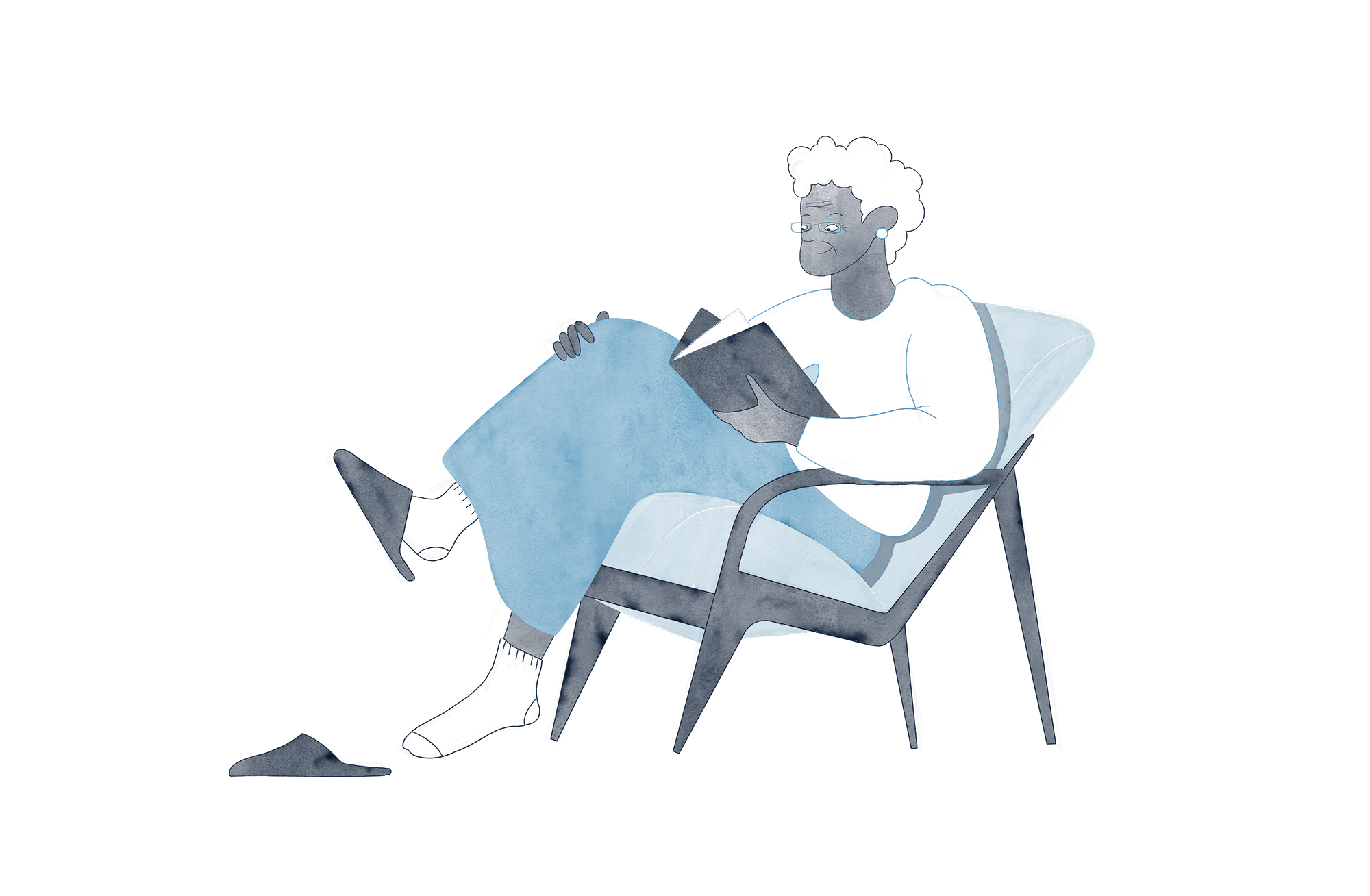 Blue and white illustration of an elderly women in a chair and reading a book.
