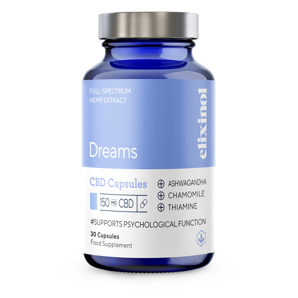 Picture of Dreams CBD Blended Capsules to support normal psychological function.